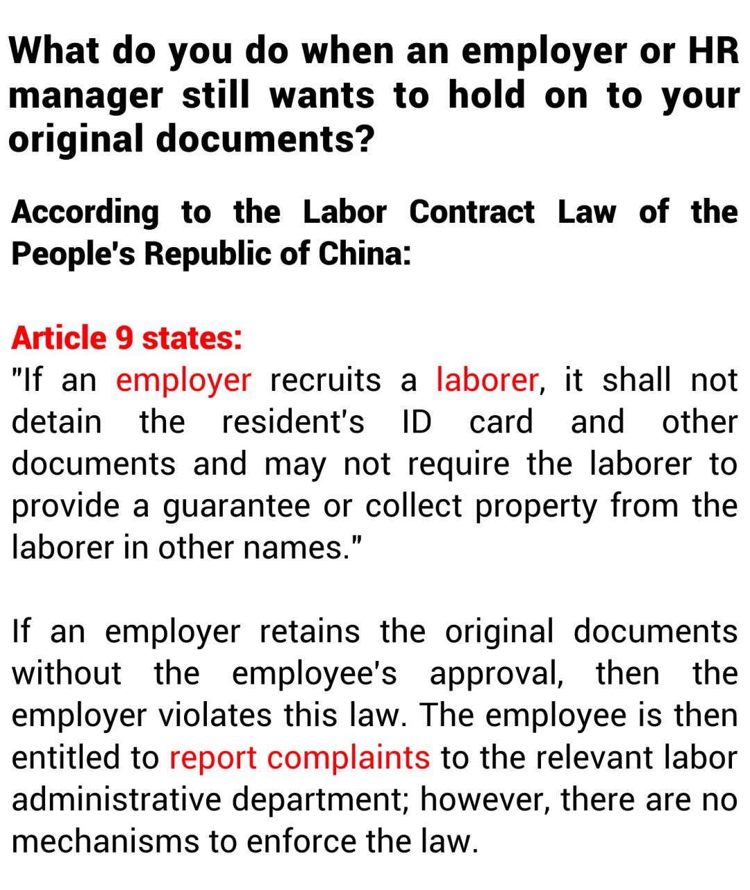 Is A Company Allowed To Hold  On To Your Personal Documents?
