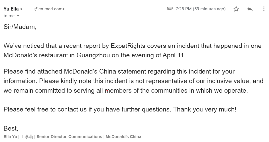 McDonald's APOLOGIZES To ExpatRights
