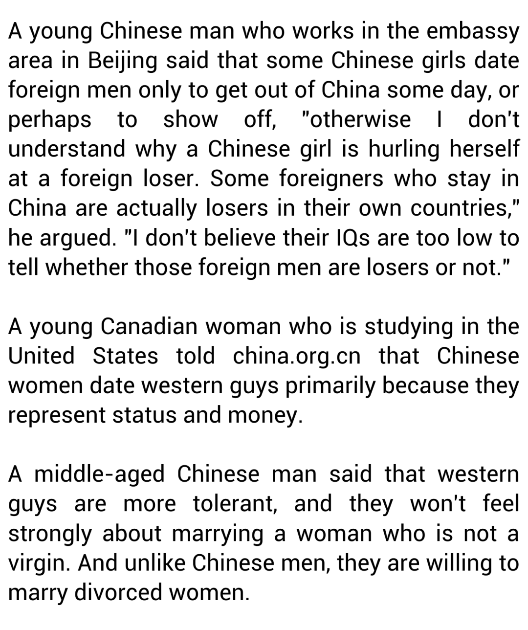 Why Do Chinese Women Date Western Men?